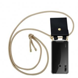 Cadorabo Handy Kette für Huawei P SMART PLUS 2019 in GLÄNZEND BRAUN Silikon Necklace Umhänge Hülle mit Gold Ringen, Kordel Band Schnur und abnehmbarem Etui Schutzhülle