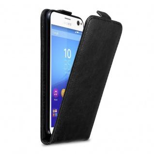 Cadorabo Hülle für Sony Xperia C4 in NACHT SCHWARZ - Handyhülle im Flip Design mit Magnetverschluss - Case Cover Schutzhülle Etui Tasche Book Klapp Style