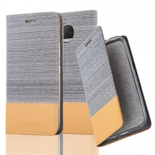 Cadorabo Hülle für Motorola MOTO G5S PLUS in HELL GRAU BRAUN - Handyhülle mit Magnetverschluss, Standfunktion und Kartenfach - Case Cover Schutzhülle Etui Tasche Book Klapp Style