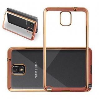 Cadorabo Hülle für Samsung Galaxy NOTE 3 - Hülle in TRANSPARENT mit CHROM GOLD ? Handyhülle aus TPU Silikon im Chrom Design - Silikonhülle Schutzhülle Ultra Slim Soft Back Cover Case Bumper