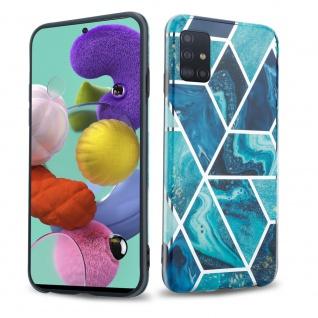 Cadorabo Hülle für Samsung Galaxy A51 4G Hülle in Blaue Welle Marmor No.13 Handyhülle aus TPU Silikon mit Muster Mosaik Silikonhülle Schutzhülle Ultra Slim Back Cover Case Bumper
