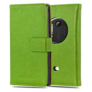 Cadorabo Hülle für Nokia Lumia 1020 in GRAS GRÜN - Handyhülle mit Magnetverschluss, Standfunktion und Kartenfach - Case Cover Schutzhülle Etui Tasche Book Klapp Style