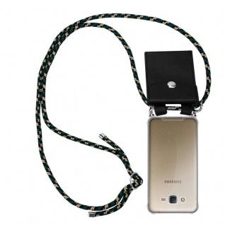 Cadorabo Handy Kette für Samsung Galaxy J7 2015 in CAMOUFLAGE - Silikon Necklace Umhänge Hülle mit Silber Ringen, Kordel Band Schnur und abnehmbarem Etui - Schutzhülle
