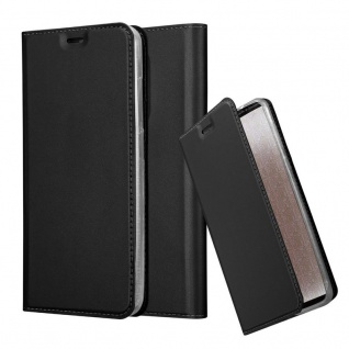 Cadorabo Hülle für WIKO VIEW XL in CLASSY SCHWARZ - Handyhülle mit Magnetverschluss, Standfunktion und Kartenfach - Case Cover Schutzhülle Etui Tasche Book Klapp Style