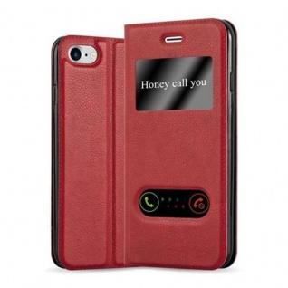 Cadorabo Hülle für Apple iPhone 7 / iPhone 7S / iPhone 8 in SAFRAN ROT - Handyhülle mit Magnetverschluss, Standfunktion und 2 Sichtfenstern - Case Cover Schutzhülle Etui Tasche Book Klapp Style