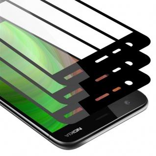 Cadorabo 3x Vollbild Panzer Folie für Nokia 2 2017 - Schutzfolie in TRANSPARENT mit SCHWARZ - 3er Pack Gehärtetes (Tempered) Display-Schutzglas in 9H Härte mit 3D Touch