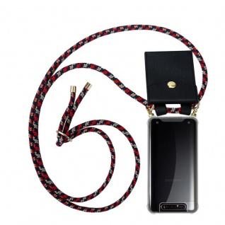 Cadorabo Handy Kette für Samsung Galaxy A80 / A90 in ROT BLAU GELB Silikon Necklace Umhänge Hülle mit Gold Ringen, Kordel Band Schnur und abnehmbarem Etui Schutzhülle