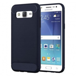 Cadorabo Hülle für Samsung Galaxy J5 2015 (5) - Hülle in BRUSHED BLAU - Handyhülle aus TPU Silikon in Edelstahl-Karbonfaser Optik - Silikonhülle Schutzhülle Ultra Slim Soft Back Cover Case Bumper