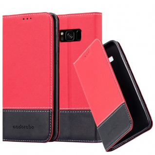 Cadorabo Hülle für Samsung Galaxy S8 in ROT SCHWARZ ? Handyhülle mit Magnetverschluss, Standfunktion und Kartenfach ? Case Cover Schutzhülle Etui Tasche Book Klapp Style