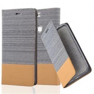 Cadorabo Hülle für Honor 8 in HELL GRAU BRAUN Handyhülle mit Magnetverschluss, Standfunktion und Kartenfach Case Cover Schutzhülle Etui Tasche Book Klapp Style