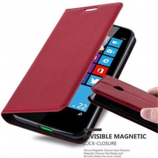 Cadorabo Hülle für Nokia Lumia 630 in APFEL ROT Handyhülle mit Magnetverschluss, Standfunktion und Kartenfach Case Cover Schutzhülle Etui Tasche Book Klapp Style