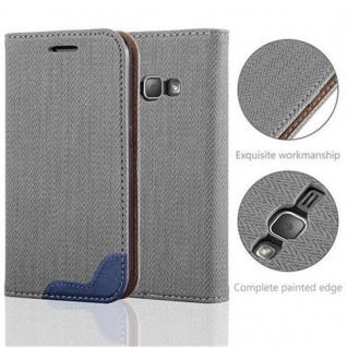 Cadorabo Hülle für Samsung Galaxy J1 2016 (6) - Hülle in GRAU BLAU - Handyhülle in Bast-Optik mit Kartenfach und Standfunktion - Case Cover Schutzhülle Etui Tasche Book Klapp Style - Vorschau 2