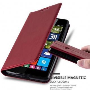 Cadorabo Hülle für Nokia Lumia 540 in APFEL ROT - Handyhülle mit Magnetverschluss, Standfunktion und Kartenfach - Case Cover Schutzhülle Etui Tasche Book Klapp Style
