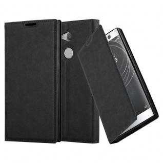 Cadorabo Hülle für Sony Xperia XA2 ULTRA in NACHT SCHWARZ - Handyhülle mit Magnetverschluss, Standfunktion und Kartenfach - Case Cover Schutzhülle Etui Tasche Book Klapp Style