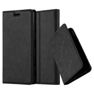 Cadorabo Hülle für Sony Xperia X in NACHT SCHWARZ Handyhülle mit Magnetverschluss, Standfunktion und Kartenfach Case Cover Schutzhülle Etui Tasche Book Klapp Style
