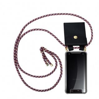 Cadorabo Handy Kette für Samsung Galaxy A80 / A90 in ROT GELB WEISS Silikon Necklace Umhänge Hülle mit Gold Ringen, Kordel Band Schnur und abnehmbarem Etui Schutzhülle