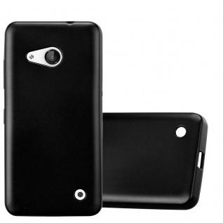Cadorabo Hülle für Nokia Lumia 550 in METALLIC SCHWARZ - Handyhülle aus flexiblem TPU Silikon - Silikonhülle Schutzhülle Ultra Slim Soft Back Cover Case Bumper