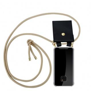 Cadorabo Handy Kette für Huawei MATE 20 PRO in GLÄNZEND BRAUN - Silikon Necklace Umhänge Hülle mit Gold Ringen, Kordel Band Schnur und abnehmbarem Etui ? Schutzhülle