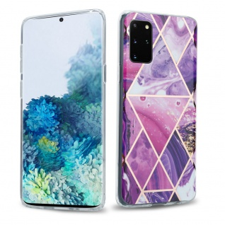Cadorabo Hülle für Samsung Galaxy S20 PLUS Hülle in Lila Welle Marmor No.14 Handyhülle aus TPU Silikon mit Muster Mosaik Silikonhülle Schutzhülle Ultra Slim Back Cover Case Bumper