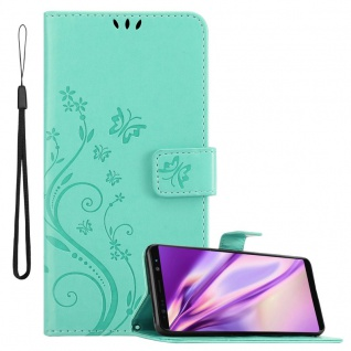 Cadorabo Hülle für Samsung Galaxy NOTE 8 in FLORAL TÜRKIS Handyhülle im Blumen Design mit Magnetverschluss, Standfunktion und 3 Kartenfächern Case Cover Schutzhülle Etui Tasche