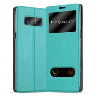 Cadorabo Hülle für Samsung Galaxy NOTE 8 in MINT TÜRKIS Handyhülle mit Magnetverschluss, Standfunktion und 2 Sichtfenstern Case Cover Schutzhülle Etui Tasche Book Klapp Style