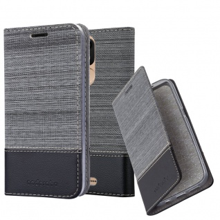Cadorabo Hülle für WIKO VIEW LITE in GRAU SCHWARZ - Handyhülle mit Magnetverschluss, Standfunktion und Kartenfach - Case Cover Schutzhülle Etui Tasche Book Klapp Style