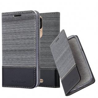 Cadorabo Hülle für WIKO VIEW LITE in GRAU SCHWARZ Handyhülle mit Magnetverschluss, Standfunktion und Kartenfach Case Cover Schutzhülle Etui Tasche Book Klapp Style