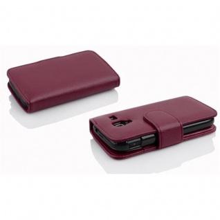Cadorabo Hülle für Samsung Galaxy ACE 2 in BORDEAUX LILA - Handyhülle aus strukturiertem Kunstleder mit Standfunktion und Kartenfach - Case Cover Schutzhülle Etui Tasche Book Klapp Style - Vorschau 3
