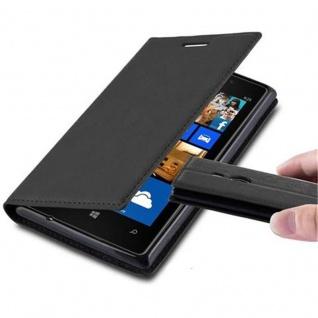 Cadorabo Hülle für Nokia Lumia 925 in NACHT SCHWARZ - Handyhülle mit Magnetverschluss, Standfunktion und Kartenfach - Case Cover Schutzhülle Etui Tasche Book Klapp Style