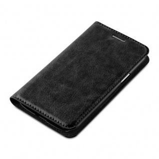 Cadorabo Hülle für Samsung Galaxy J1 2015 in NACHT SCHWARZ - Handyhülle mit Magnetverschluss, Standfunktion und Kartenfach - Case Cover Schutzhülle Etui Tasche Book Klapp Style - Vorschau 3
