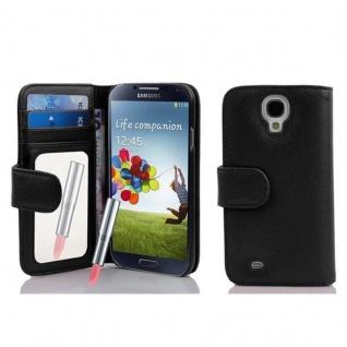 Cadorabo Hülle für Samsung Galaxy S4 - Hülle in LAVA SCHWARZ ? Handyhülle mit Spiegel und Kartenfach - Case Cover Schutzhülle Etui Tasche Book Klapp Style