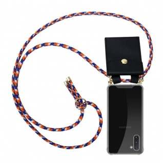 Cadorabo Handy Kette für Samsung Galaxy NOTE 10 in ORANGE BLAU WEISS - Silikon Necklace Umhänge Hülle mit Gold Ringen, Kordel Band Schnur und abnehmbarem Etui ? Schutzhülle