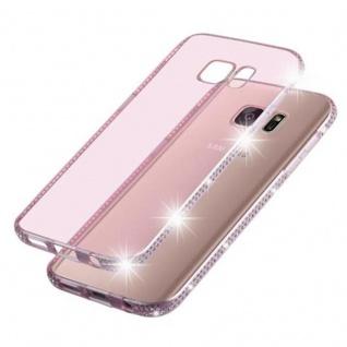 Cadorabo Hülle für Samsung Galaxy S7 - Hülle in TRANSPARENT ROSA ? Handyhülle aus TPU Silikon im Strass Design - Silikonhülle Schutzhülle Ultra Slim Soft Back Cover Case Bumper - Vorschau 5