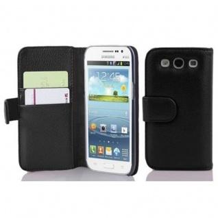 Cadorabo Hülle für Samsung Galaxy WIN in OXID SCHWARZ ? Handyhülle aus strukturiertem Kunstleder mit Standfunktion und Kartenfach ? Case Cover Schutzhülle Etui Tasche Book Klapp Style