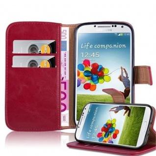 Cadorabo Hülle für Samsung Galaxy S4 in WEIN ROT Handyhülle mit Magnetverschluss, Standfunktion und Kartenfach Case Cover Schutzhülle Etui Tasche Book Klapp Style