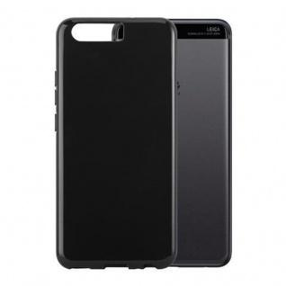 Cadorabo Hülle für Huawei P10 in SCHWARZ Handyhülle aus flexiblem TPU Silikon Silikonhülle Schutzhülle Ultra Slim Soft Back Cover Case Bumper