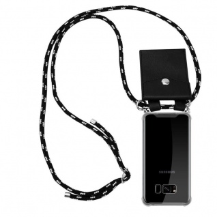 Cadorabo Handy Kette für Samsung Galaxy S8 PLUS in SCHWARZ SILBER - Silikon Necklace Umhänge Hülle mit Silber Ringen, Kordel Band Schnur und abnehmbarem Etui - Schutzhülle