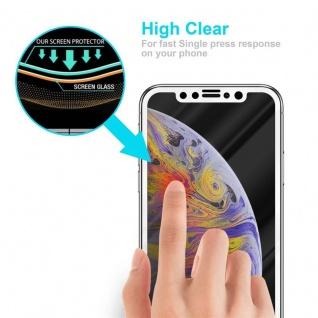 Cadorabo Vollbild Panzer Folie für Apple iPhone XS MAX - Schutzfolie in TRANSPARENT mit WEISS - Gehärtetes (Tempered) Display-Schutzglas in 9H Härte mit 3D Touch Kompatibilität - Vorschau 5