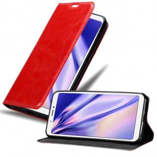 Cadorabo Hülle für BQ Aquaris C in APFEL ROT Handyhülle mit Magnetverschluss, Standfunktion und Kartenfach Case Cover Schutzhülle Etui Tasche Book Klapp Style