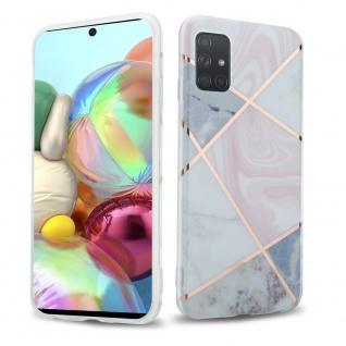 Cadorabo Hülle für Samsung Galaxy A71 4G Hülle in Pink grau weiß Marmor No.10 Handyhülle aus TPU Silikon mit Muster Mosaik Silikonhülle Schutzhülle Ultra Slim Back Cover Case Bumper