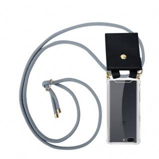 Cadorabo Handy Kette für OnePlus 5 in SILBER GRAU - Silikon Necklace Umhänge Hülle mit Gold Ringen, Kordel Band Schnur und abnehmbarem Etui ? Schutzhülle