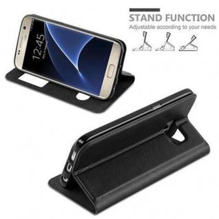 Cadorabo Hülle für Samsung Galaxy S7 in KOMETEN SCHWARZ ? Handyhülle mit Magnetverschluss, Standfunktion und 2 Sichtfenstern ? Case Cover Schutzhülle Etui Tasche Book Klapp Style - Vorschau 3