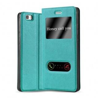 Cadorabo Hülle für Huawei P8 LITE 2015 in MINT TÜRKIS - Handyhülle mit Magnetverschluss, Standfunktion und 2 Sichtfenstern - Case Cover Schutzhülle Etui Tasche Book Klapp Style