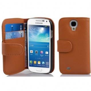 Cadorabo Hülle für Samsung Galaxy S4 MINI - Hülle in COGNAC BRAUN ? Handyhülle mit Kartenfach aus struktriertem Kunstleder - Case Cover Schutzhülle Etui Tasche Book Klapp Style