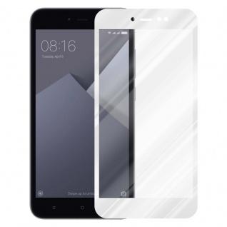 Cadorabo Vollbild Panzer Folie für Xiaomi RedMi NOTE 5A PRIME - Schutzfolie in TRANSPARENT mit WEISS - Gehärtetes (Tempered) Display-Schutzglas in 9H Härte mit 3D Touch Kompatibilität - Vorschau 2