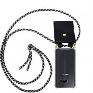 Cadorabo Handy Kette für Samsung Galaxy S7 EDGE in DUNKELBLAU GELB - Silikon Necklace Umhänge Hülle mit Gold Ringen, Kordel Band Schnur und abnehmbarem Etui ? Schutzhülle
