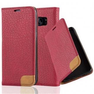Cadorabo Hülle für Samsung Galaxy S7 EDGE - Hülle in ABEND ROT ? Handyhülle mit Standfunktion, Kartenfach und Textil-Patch - Case Cover Schutzhülle Etui Tasche Book Klapp Style