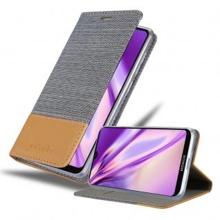 Cadorabo Hülle für Honor 8S in HELL GRAU BRAUN Handyhülle mit Magnetverschluss, Standfunktion und Kartenfach Case Cover Schutzhülle Etui Tasche Book Klapp Style
