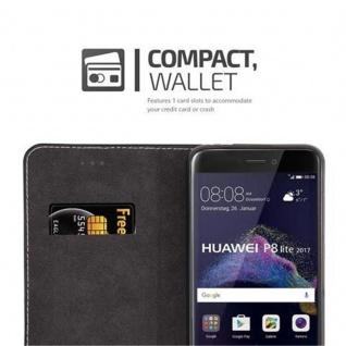 Cadorabo Hülle für Huawei P8 LITE 2017 in SCHWARZ BRAUN ? Handyhülle mit Magnetverschluss, Standfunktion und Kartenfach ? Case Cover Schutzhülle Etui Tasche Book Klapp Style - Vorschau 2