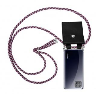 Cadorabo Handy Kette für Oppo A92s in ROT WEISS Silikon Necklace Umhänge Hülle mit Silber Ringen, Kordel Band Schnur und abnehmbarem Etui Schutzhülle